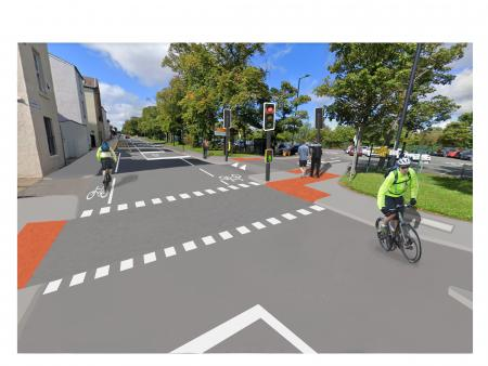 Image shows a city street that has been altered to show how it will look with a new crossing point and cycle lanes.