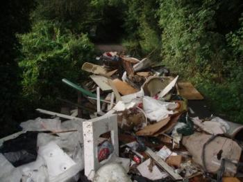 fly tip in road