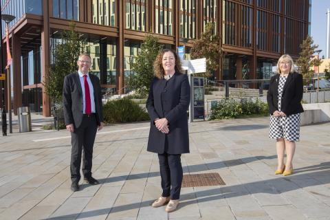 Dame Jackie Daniel, CEO Newcastle Hospitals, and Newcastle City Council's Leader, Cllr Nick Forbes, and Chief Executive, Pat Ritchie