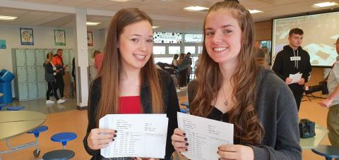 Kenton School students Lucy Atkin and Grace Hanson with their results