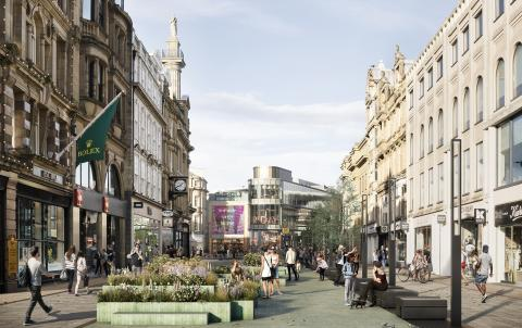 A computer generated image showing a traffic-free city centre street with people and planted areas.