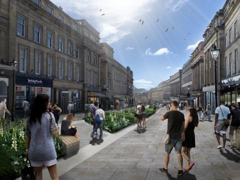 Grey Street will ultimately become the primary pedestrian route between the city centre and Quay-side
