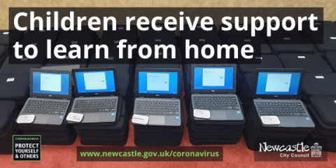 Five open laptops sat on a pile of over 1,000 laptops with the text Children receive support to learn from home