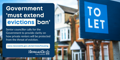 A to let sign and housing, with headline 'Government must extend evictions ban'