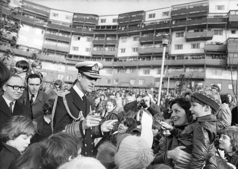 Prince Philip visits the recently opened Byker Wall housing development in Byker, Newcastle, and chats to local people, c1974 (Credit Newcastle Chronicle and Journal)