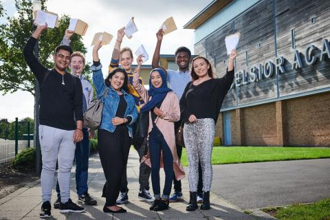 Students at Excelsior celebrate their results