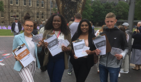 Photo credit @doughallam (Twitter) - 'Youth MP's start their campaigning for Make Your Mark.'