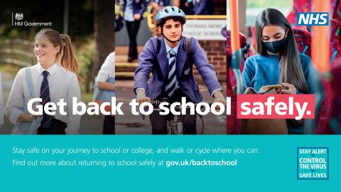Image with three photos showing a child walking, riding a bike and sitting on a bus with the caption Get back to school safely.