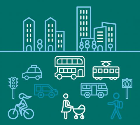 Artwork showing buildings, vehicles and people