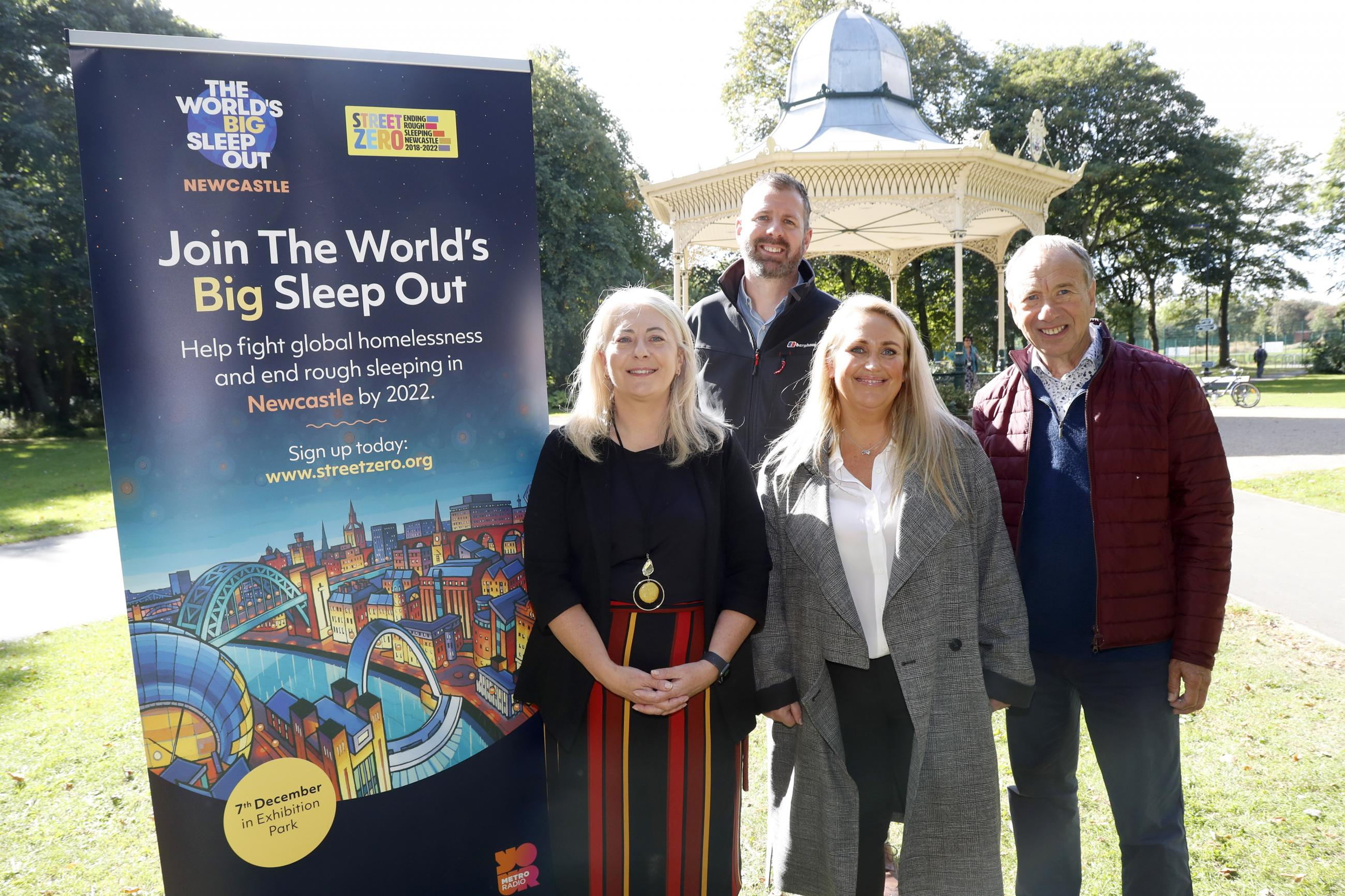 Bob Eldridge, Cllr Linda Hobson, James Cross and Natasha Addis of the World's Big Sleepout