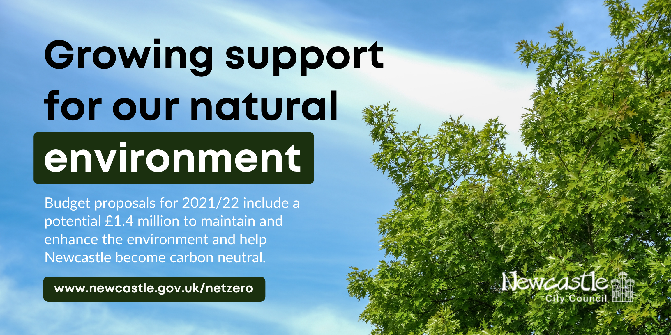 Image: A blue sky and tree foliage. Text: Growing support for our natural environment - Budget proposals for 2021/22 include a potential £1.4 million to maintain and enhance the environment and help Newcastle become carbon neutral.
