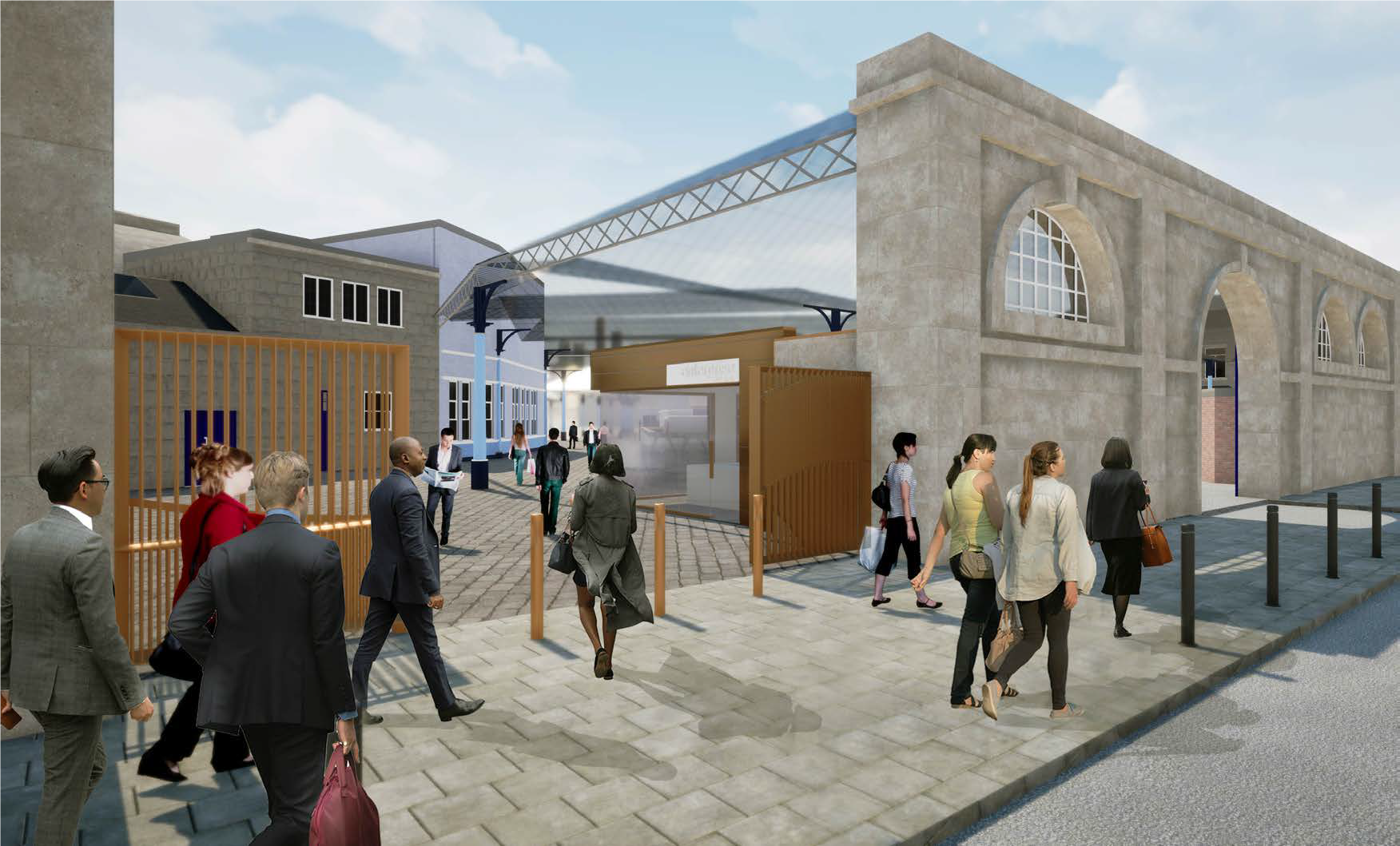Artists impression of the new Neville Street entrance to Newcastle Central Station