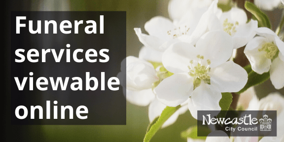 "A photo of white flowers with the text ""funeral services viewable online"""