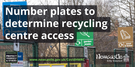 Photo of Walbottle recycling centre with the text Number plates to determine recycling centre access