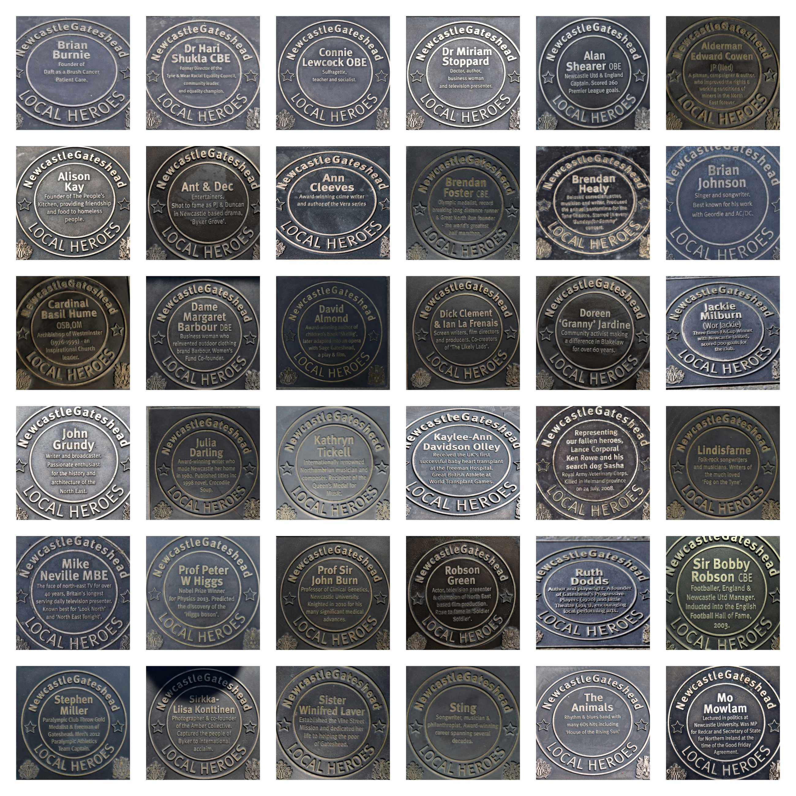 Bronze plaques honour 41 Local Heroes on the trail around Newcastle and Gateshead Quayside