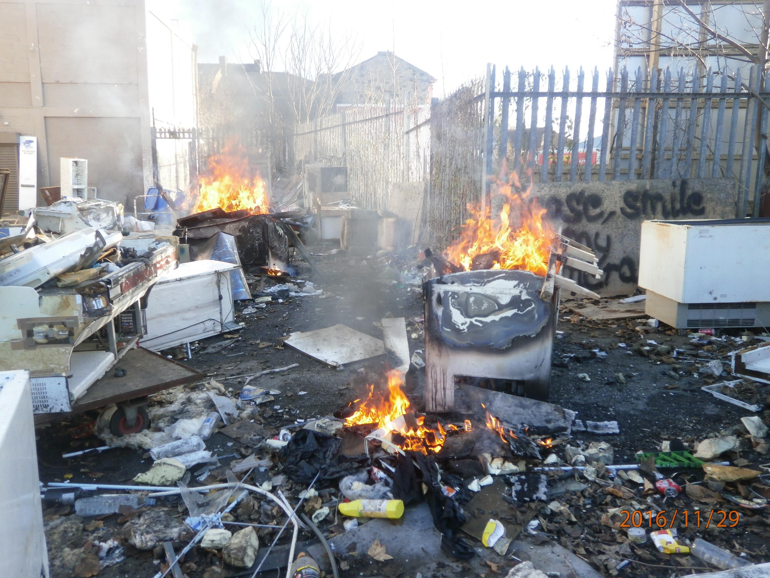 Burning waste at Bentinck Road
