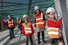 Pupils from a social bubble at Simonside Primary exploring their new build school