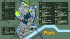 A map showing the locations of car parks around the edge of Newcastle city centre along with information about each car park.