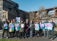 Members of the community in Ouseburn celebrate their Plastic Free Community award