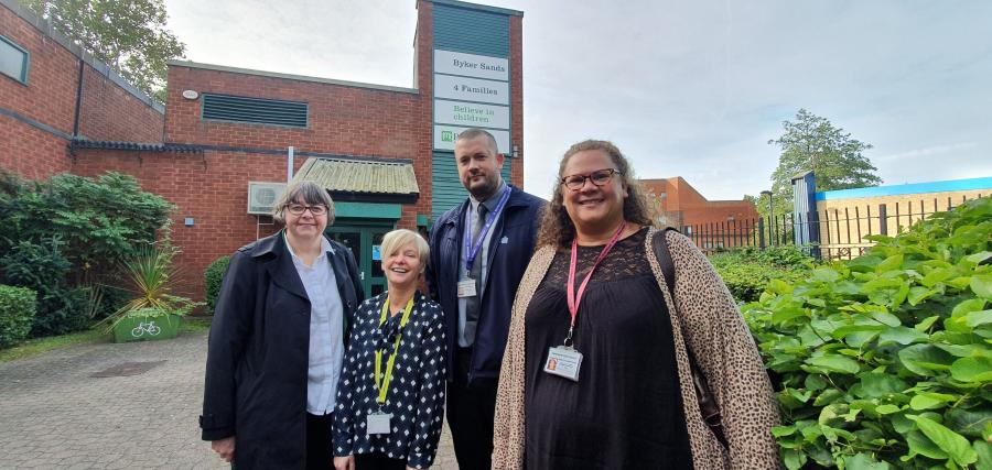 Cllr Joyce McCarty, Newcastle City Council deputy leader; Barnardo's Carol Dufton; Paul Watson, Building and Commercial Enterprise; and Annette Payne, Health Improvement Practioner
