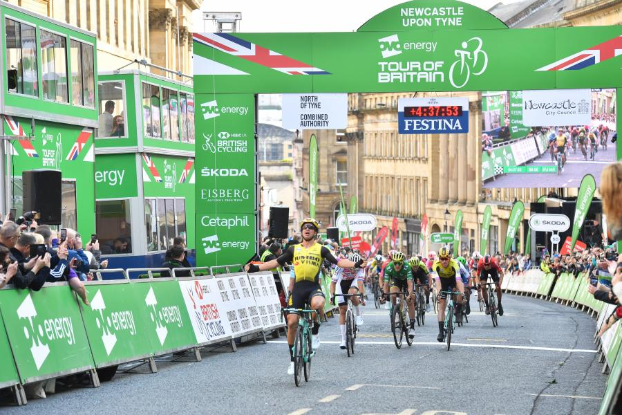 Dylan Groenewegen takes victory in the Tour of Britain stage finish on Grey Street