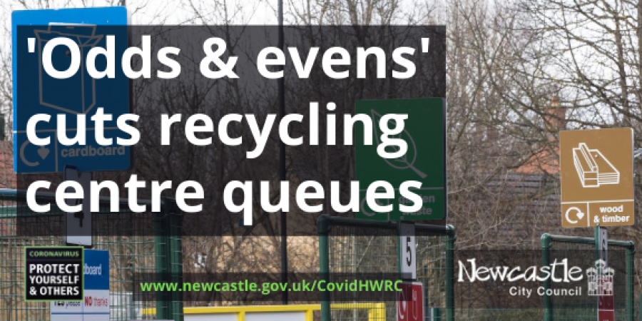 Photo of Walbottle recycling centre with the text Odds and evens cuts recycling centre queues