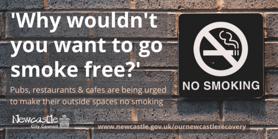 A no smoking sign on a grey brick wall with the text 'Why wouldn't you want to go smoke free?'